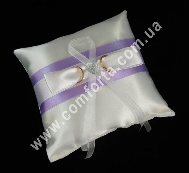 свадебная подушечка для обручальных колец, высота - 16 см, ширина - 16 см, материал - атлас, сиреневая