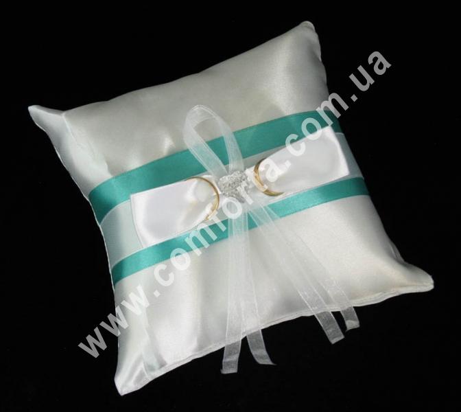 свадебная подушечка для обручальных колец, высота - 16 см, ширина - 16 см, материал - атлас, изумрудная