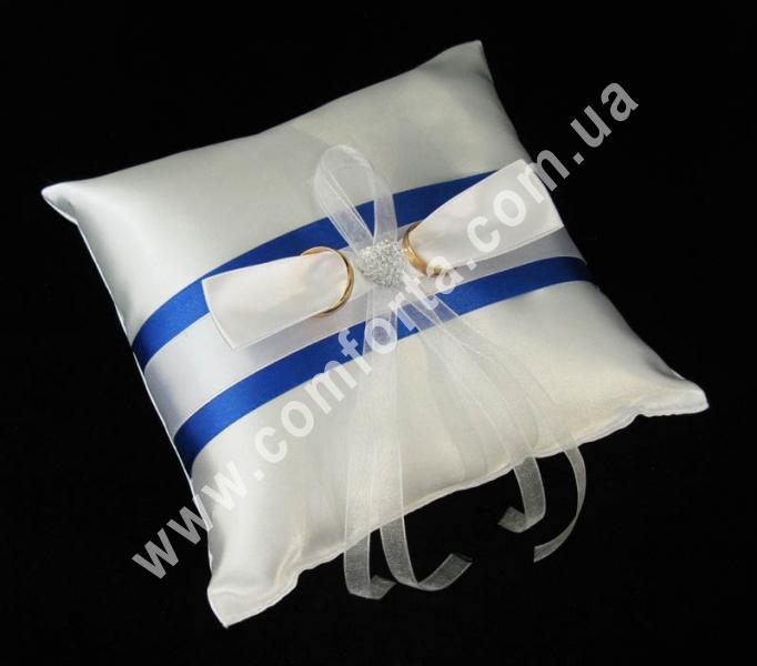 свадебная подушечка для обручальных колец, высота - 16 см, ширина - 16 см, материал - атлас, синяя