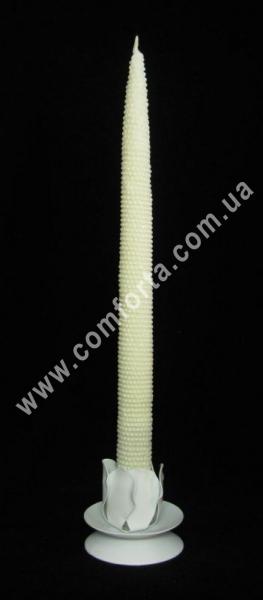 свеча ручной работы кремовая, высота - 28 см, диаметр - 2 см, материал - парафин
