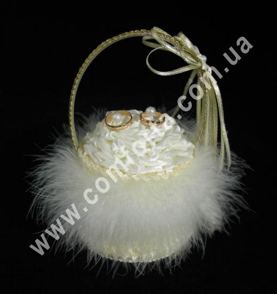 свадебная корзинка для обручальных колец с пухом, высота - 18 см, диаметр - 11 см, материал - ткань, пух