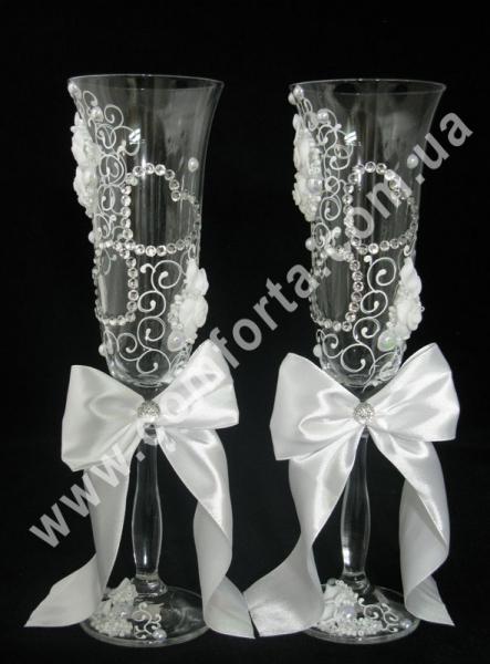 свадебные бокалы с атласной лентой, высота 25 см, объем 190 мл