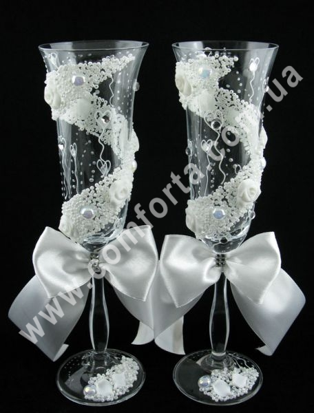 свадебные бокалы с лепными украшениями, высота 25 см