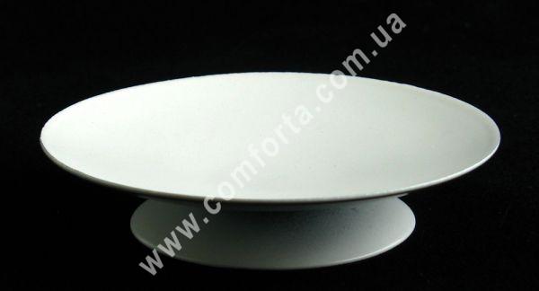 белый металлический подсвечник в форме блюдца, диаметр 9 см