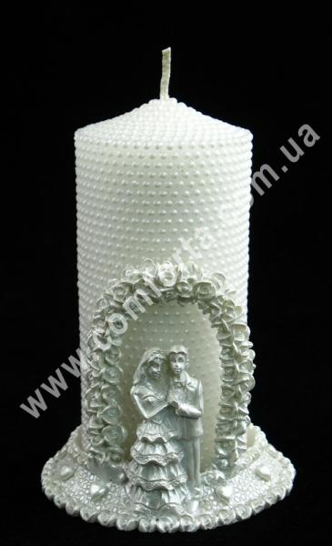 Жемчужина+Арка (подсвечник), h-13см, белый, свеча свадебная