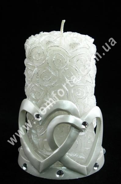 Розочки+Сердца (подсвечник), h-13см, белый, свеча свадебная