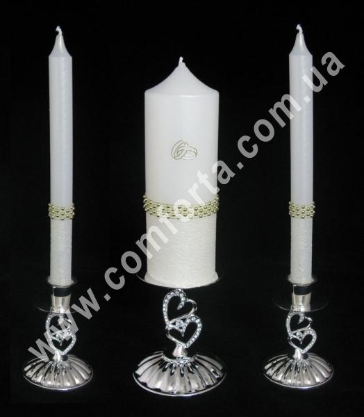 свадебная свеча для семейного очага Элегант Золотая жемчужная лента