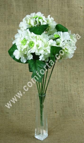 гортензия искусственная бело-кремовая, 5 веток, высота - 45 см, диаметр одного цветка - 4 см