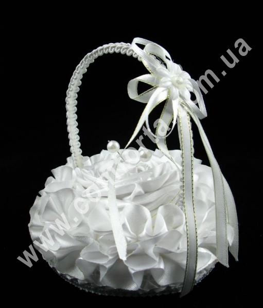 свадебная подушечка для обручальных колец в виде корзинки, высота - 14 см, диаметр - 11 см, материал - ткань атлас