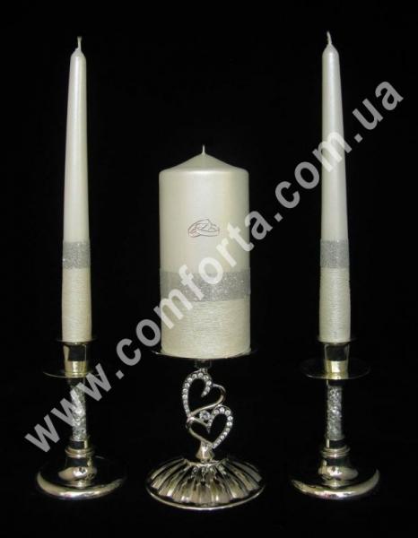 свадебные свечи серии Элегант блеск, серебро