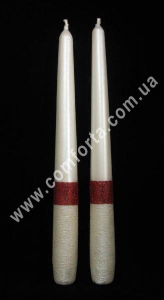 родительские свечи Элегант блеск, красные, высота - 24,5 см, диаметр - 2,3 см