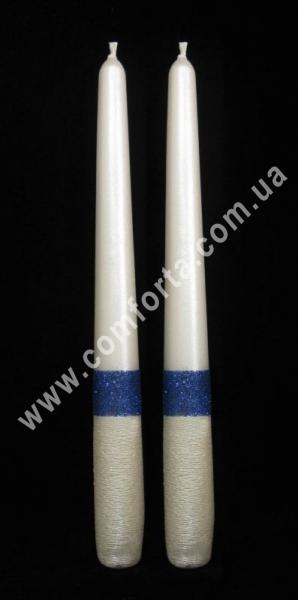родительские свечи Элегант блеск, синие, высота - 24,5 см, диаметр - 2,3 см