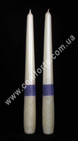 родительские свечи Элегант блеск, сиреневые, высота - 24,5 см, диаметр - 2,3 см
