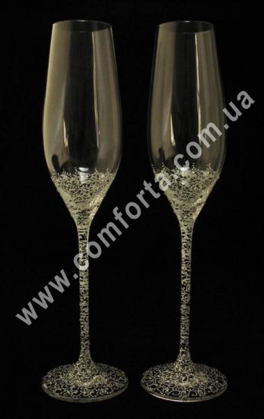 свадебные бокалы с кристаллами Сваровски, высота - 26,5 см, диаметр - 4 см