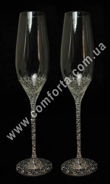 свадебные бокалы с кристаллами Сваровски, высота - 26,5 см, диаметр - 4 см, хамелеон