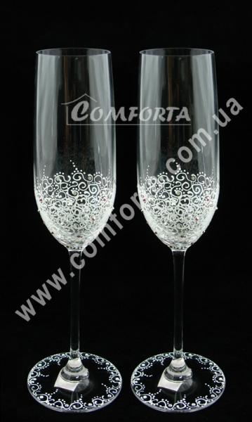 свадебные бокалы с кристаллами Swarovski