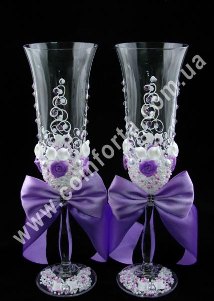 свадебные бокалы с атласными бантами, высота - 25 см, диаметр - 7 см, объем - 190 мл