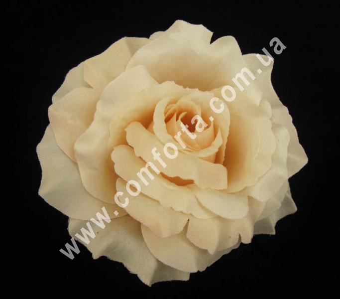 головка розы нежно-персиковая, диаметр - 13 см, высота - 8 см, материал - ткань