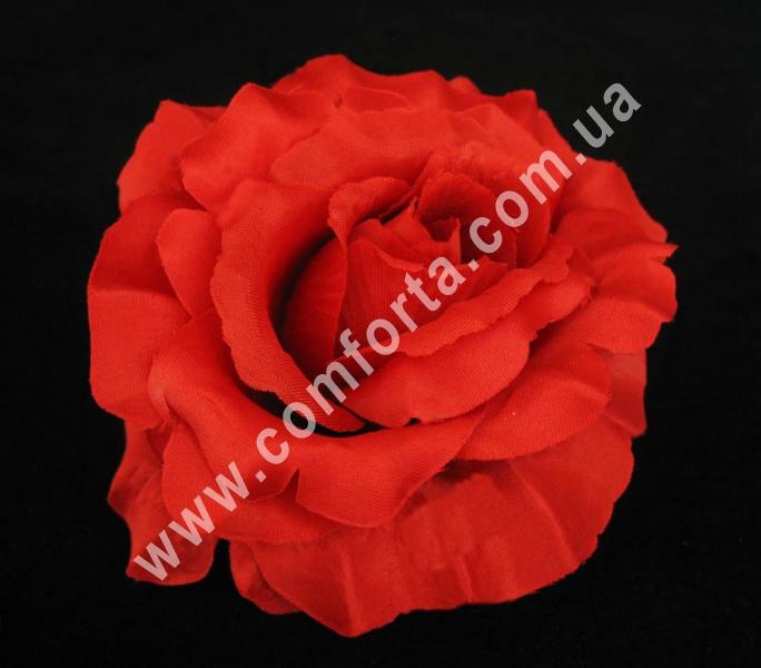 головка розы красная, диаметр - 13 см, высота - 8 см, материал - ткань