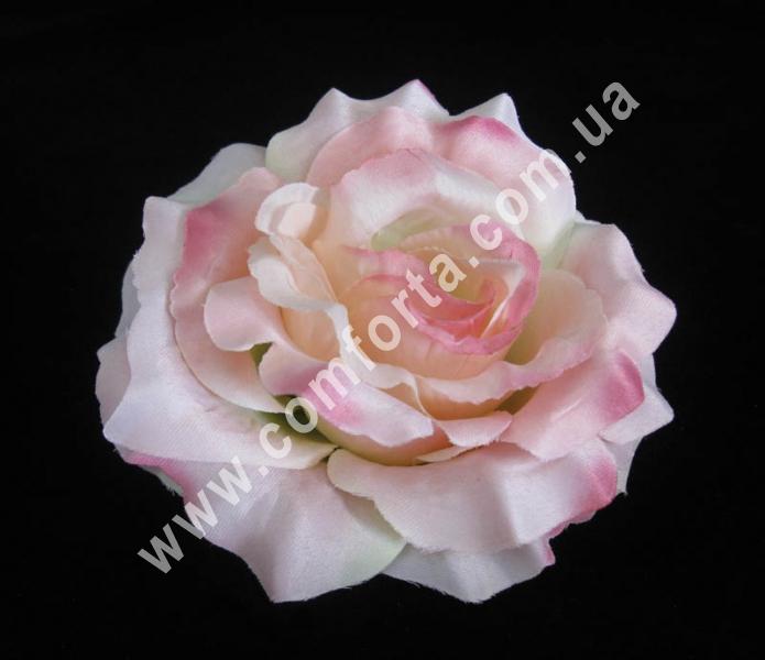 головка розы нежно-розовая, диаметр - 13 см, высота - 8 см, материал - ткань
