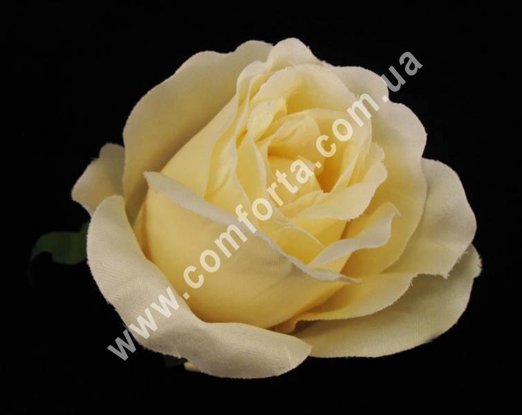 головка розы бежевая, диаметр - 8 см, материал - ткань