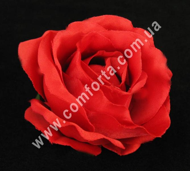 головка розы красная, диаметр - 8 см, материал - ткань