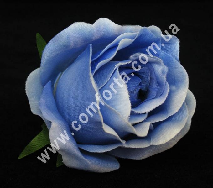 головка розы голубая, диаметр - 8 см, материал - ткань