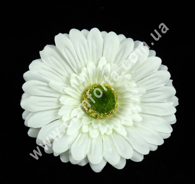 головка герберы белая, диаметр - 10 см, материал - ткань