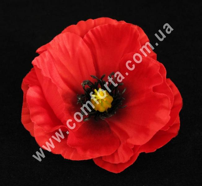 головка мака, диаметр - 11 см, цветок искусственный, цвет - темно-красный
