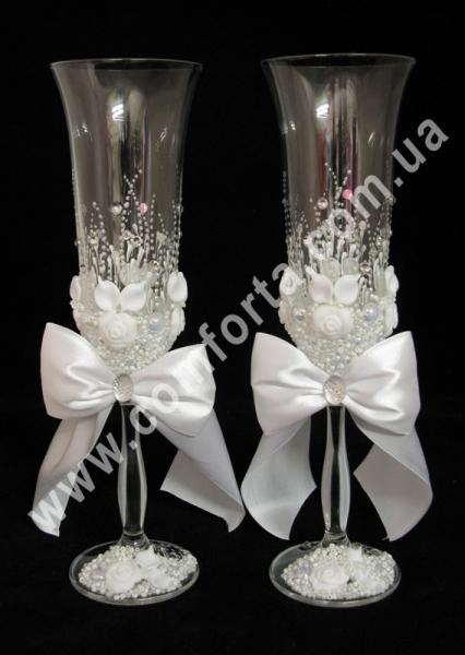 свадебные бокалы с белыми бантами, высота 25 см, объем 190 мл