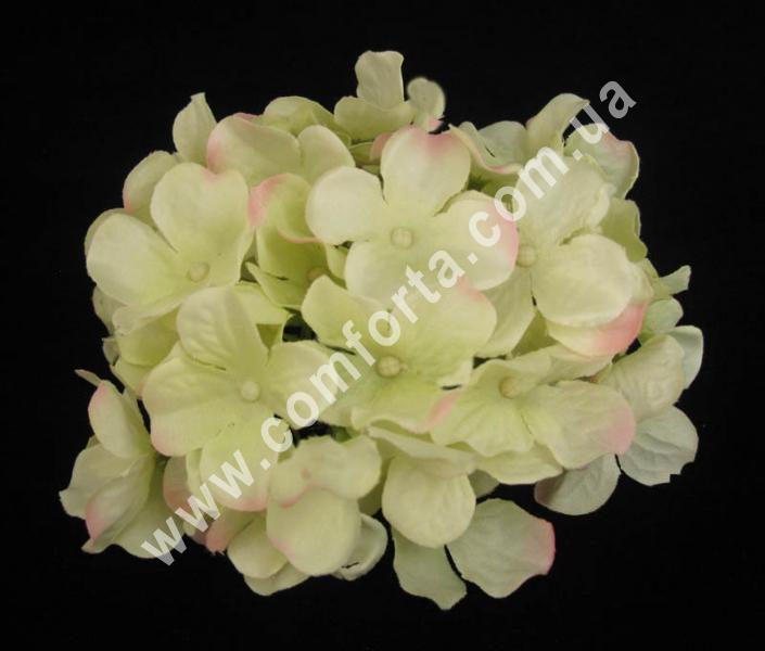 головка гортензии белая с розовинкой, диаметр - 14 см, цветок искусственный
