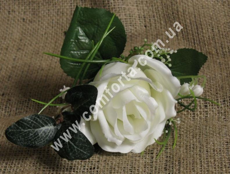 Бутоньерка роза, h-19см, цветок искусственный