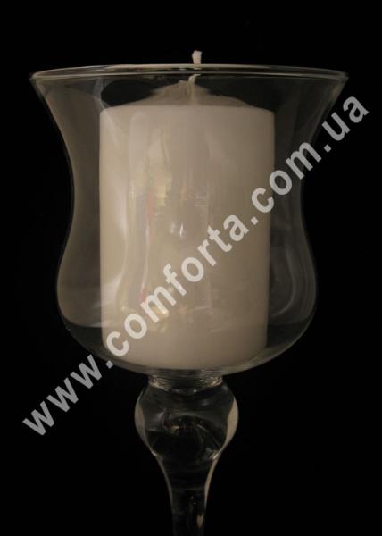 Чаша на высокой ножке, подсвечник стеклянный