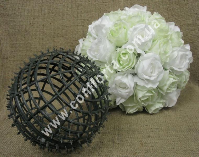 основа шар для флористических композиций из искусственных цветов, диаметр - 20 см, материал - пластик