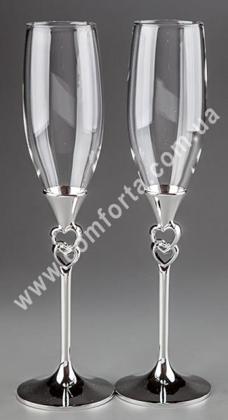 любовные узы, серебристый, свадебные бокалы
