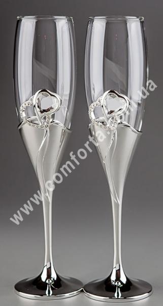 два сердца с кристаллом, серебристый, свадебные бокалы