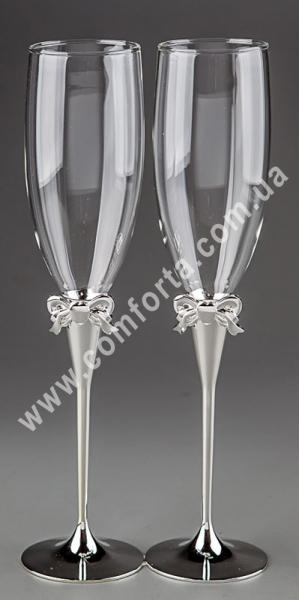 свадебный бант, серебристый, свадебные бокалы