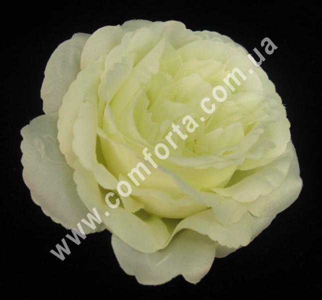головка розы пионовидной кремовая, диаметр - 11 см, высота - 6 см, материал - ткань