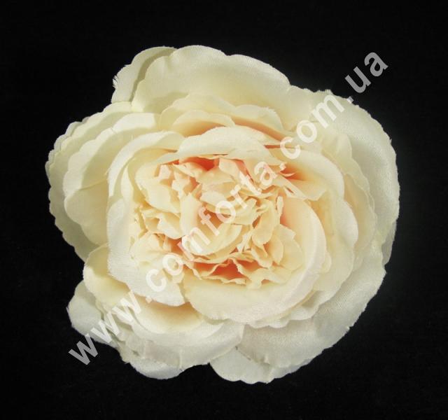 33261-04 Головка розы пионовидная кремово-розовая, d-11см, цветок искусственный