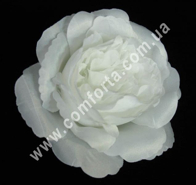 искусственная головка пионовидной розы, диаметр - 11 см, цвет - белый