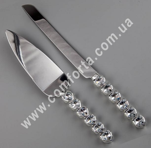 металлические нож и лопатка для торта, украшенные кристаллами