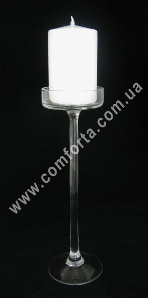 подсвечник стеклянный на высокой ножке, высота - 30 см, диаметр - 8,5 см