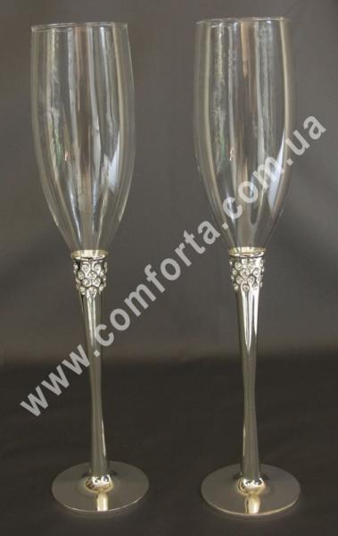 свадебные бокалы на металлической ножке, высота - 27,5 см, диаметр - 6 см