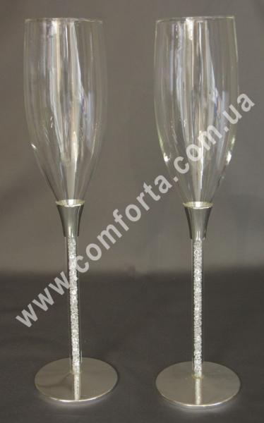 свадебные бокалы на металлической ножке, высота - 26,5 см, диаметр - 6,5 см
