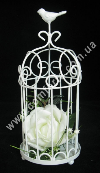 Клетка декоративная, высота - 27 см, диаметр - 11,5 см, металлический декор