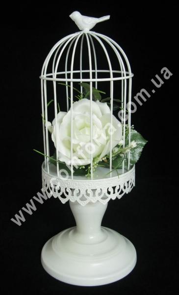Клетка декоративная, высота - 34 см, диаметр - 14 см, металлический декор