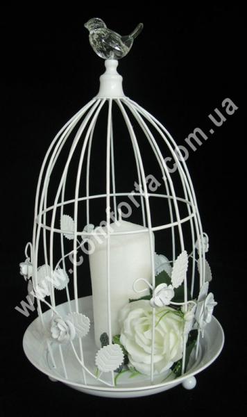 Клетка декоративная подвесная, высота - 37 см, диаметр - 22 см, декор металлический
