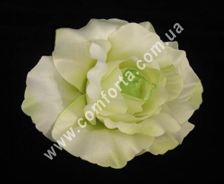 искусственная головка розы, диаметр - 11 см, цвет - бело-зеленый