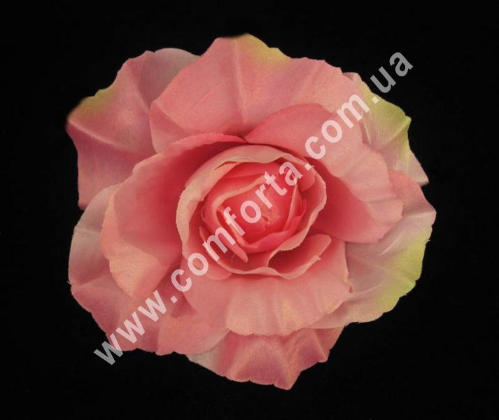 искусственная головка розы, диаметр - 11 см, цвет - розовая