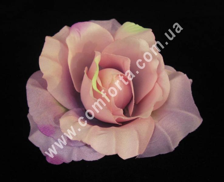 искусственная головка розы, диаметр - 11 см, цвет - сиренево-розовая